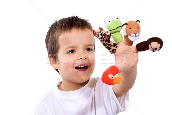 Doigt jouer heureux yeux garçon Photo stock © ilona75