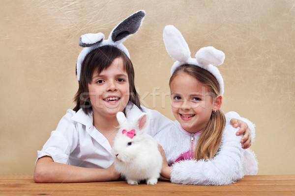 Kids with their favorite pet Stock photo © ilona75