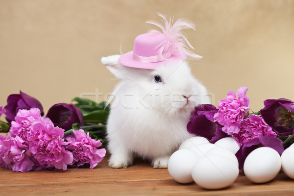 Cute easter rabbit with spring flowers and white eggs Stock photo © ilona75