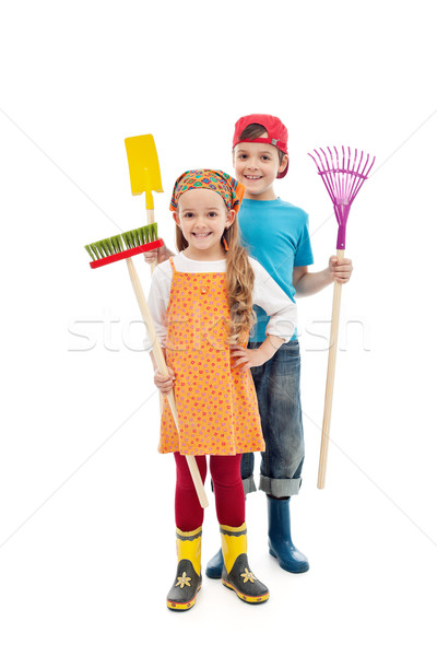 Happy gardener kids - with tools and rubber boots Stock photo © ilona75