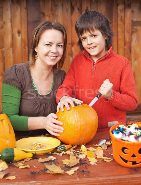 Woman and her son preparing for Halloween Stock photo © ilona75