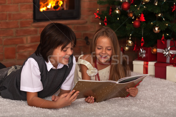 Kids reading a book - in front of the Christmas tree Stock photo © ilona75