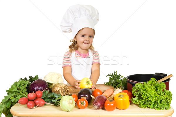 Stok fotoğraf: Mutlu · küçük · şef · sebze · küçük · kız · pişirme