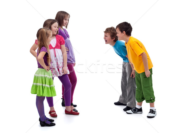 Group of boys and girls mocking each other Stock photo © ilona75