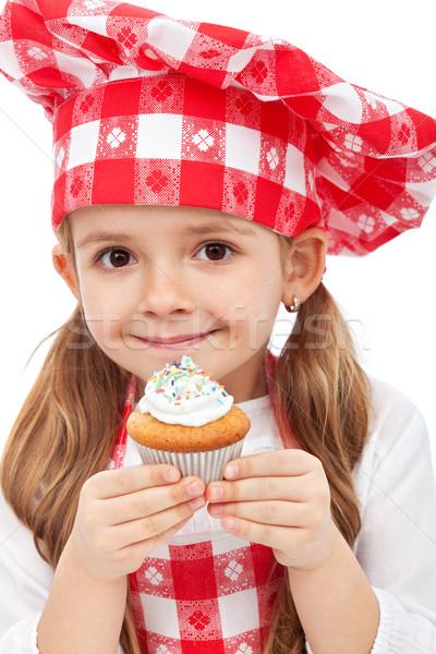 Little chef holding muffin Stock photo © ilona75