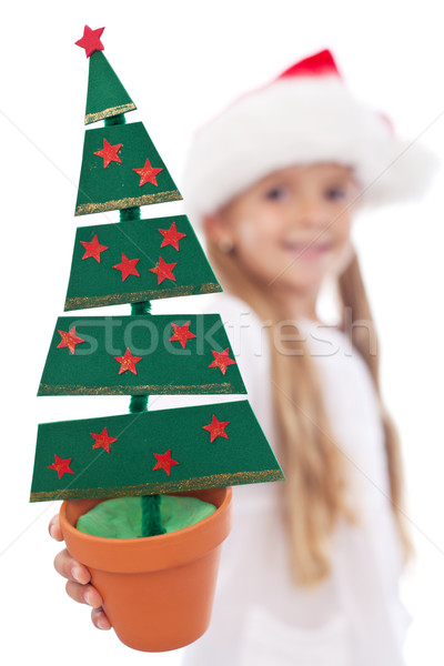 Christmas tree decoration in litte girl hand Stock photo © ilona75