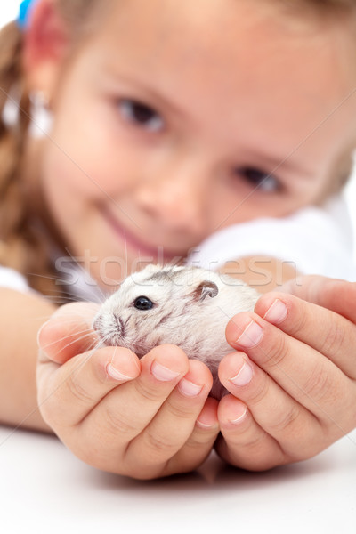 Meet my little pal - girl and her hamster Stock photo © ilona75
