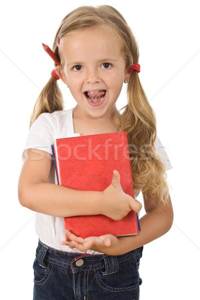 Stockfoto: Weinig · meisje · boeken · meisje