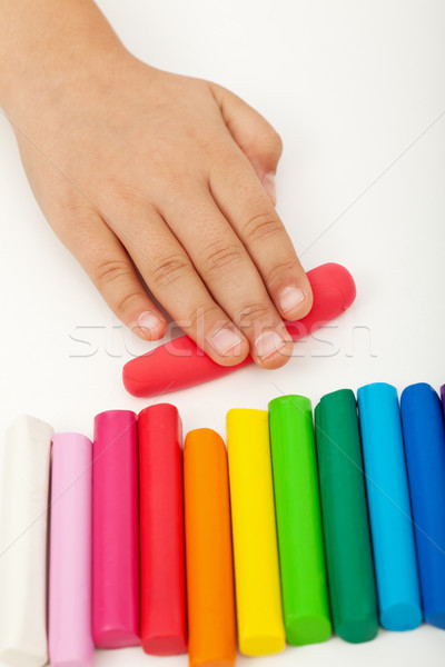 Child hand with modeling clay Stock photo © ilona75
