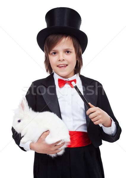 Stok fotoğraf: Genç · büyücü · erkek · beyaz · tavşan