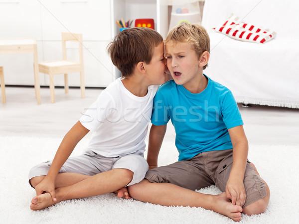 Hall pletyka kettő fiúk osztás titkok Stock fotó © ilona75