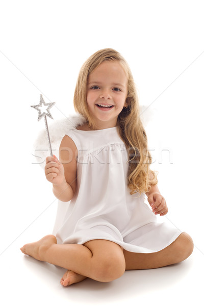 Little fairy angel with magic wand Stock photo © ilona75