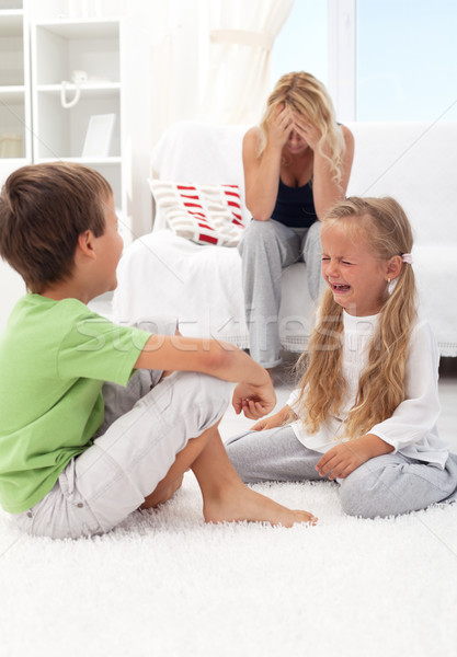 Kids fighting and crying Stock photo © ilona75