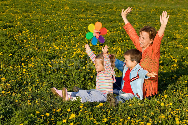 Spring sun worshipers - woman with kids on the flower field Stock photo © ilona75