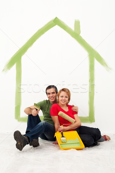 Young couple redecorating their first home Stock photo © ilona75