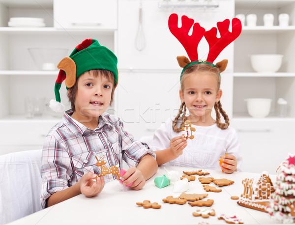 Stok fotoğraf: çocuklar · zencefilli · çörek · Noel · kurabiye · komik