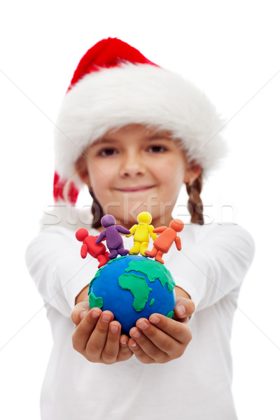 One world of happy people at christmas concept Stock photo © ilona75