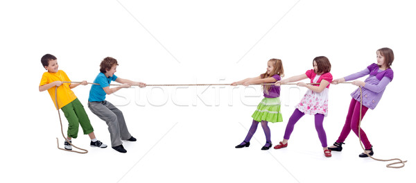 Kids playing tug of war Stock photo © ilona75