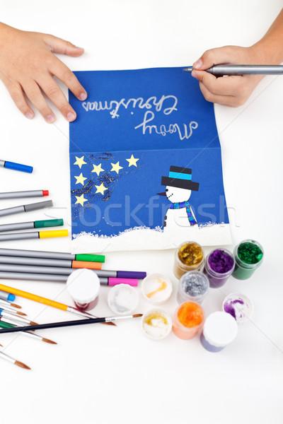 Kid making christmas postcard Stock photo © ilona75