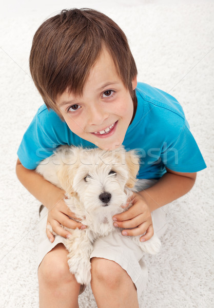 Young boy with his doggy Stock photo © ilona75