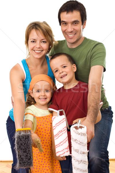 Boldog család kész festék festmény tekercsek otthon Stock fotó © ilona75