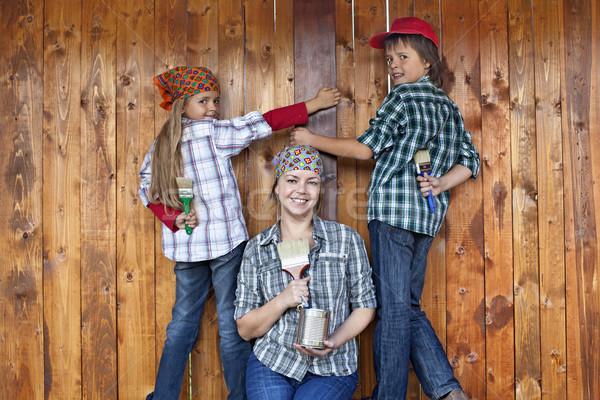 Foto stock: Pintura · herramienta · familia · mujer · madera