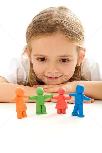 Сток-фото: семьи · счастливым · девочку · мышления · глядя