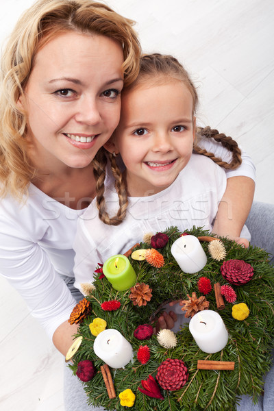 Woman and little girl with advent wreath Stock photo © ilona75