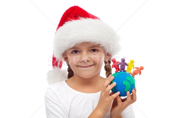 Мир счастливым Рождества люди единения девочку Сток-фото © ilona75