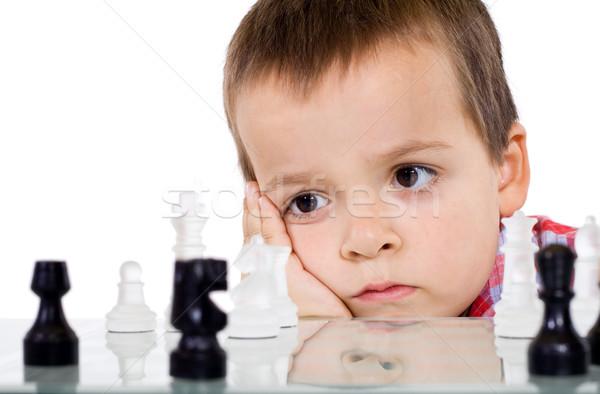 Komoly problémamegoldás fiú játszik sakk jókedv Stock fotó © ilona75