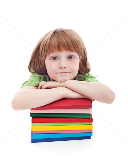 Kicsi fiú szeplők kész iskola dől Stock fotó © ilona75