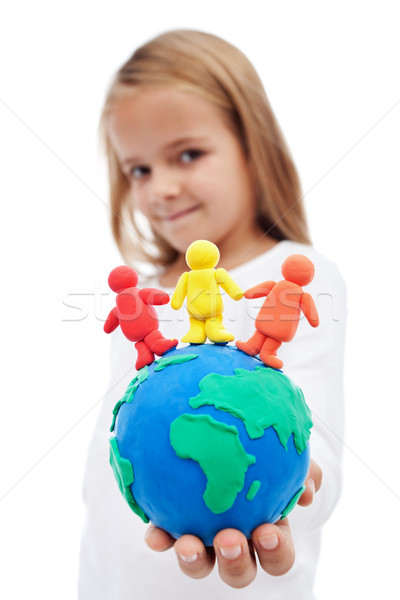 Mundo harmonia little girl terra globo Foto stock © ilona75