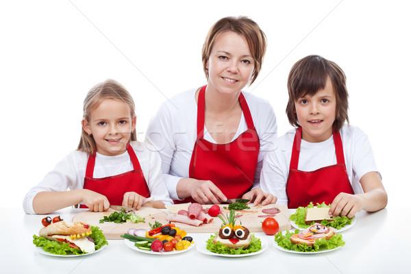 Nő gyerekek készít kreatív étel lény Stock fotó © ilona75