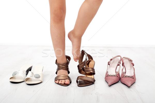 Gyermek láb felnőtt cipők magassarkú lány Stock fotó © ilona75