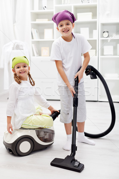 Tidy up day - children cleaning their room Stock photo © ilona75