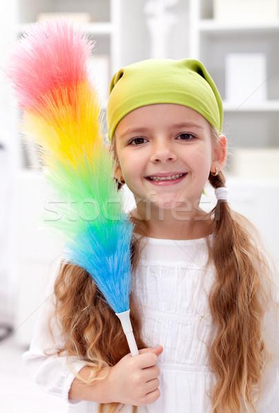 Little girl with dusting brush Stock photo © ilona75