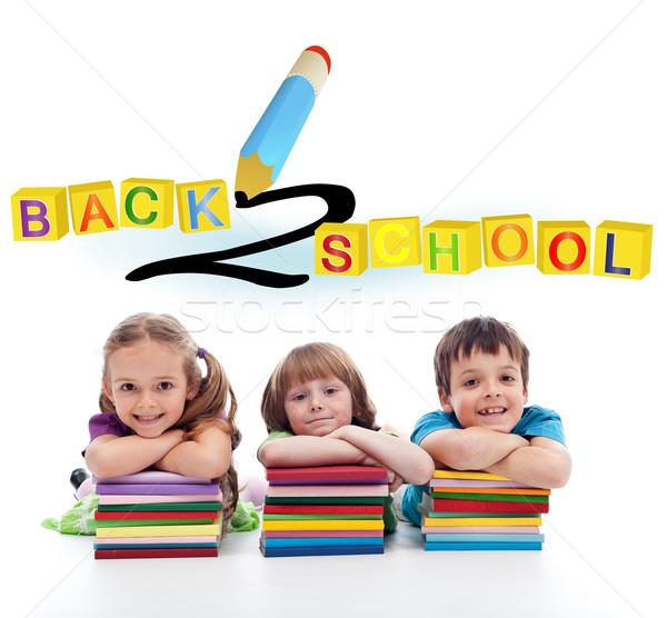 Stockfoto: Terug · naar · school · drie · gelukkig · kinderen · meisje · glimlach