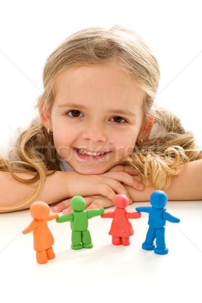 Сток-фото: девочку · улыбаясь · глина · люди · семьи · счастливым