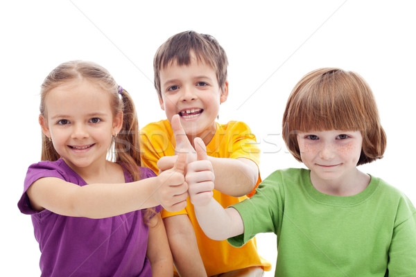 Friends forever - kids showing thumbs up signs Stock photo © ilona75