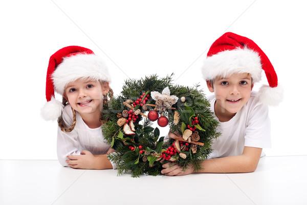 子供 伝統的な 出現 花輪 着用 サンタクロース ストックフォト © ilona75