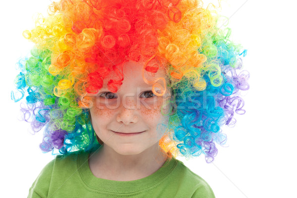 Aranyos fiú szeplők bohóc haj születésnap Stock fotó © ilona75