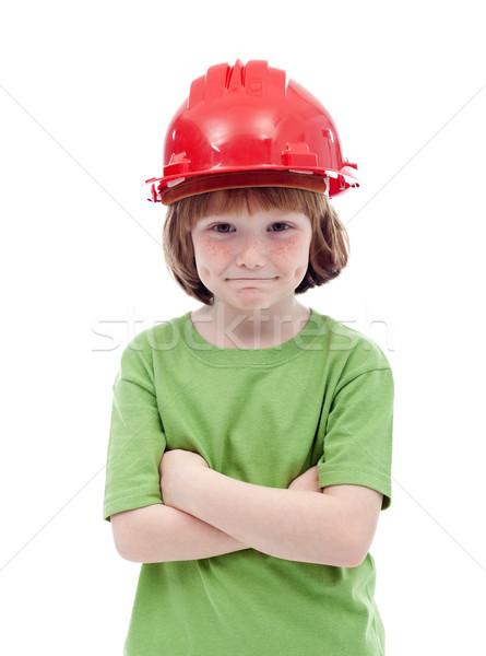Fiatal srác piros munkavédelmi sisak portré lány arc Stock fotó © ilona75