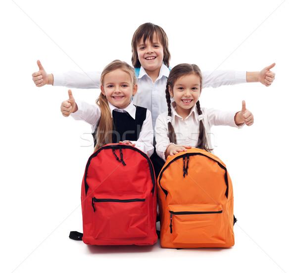 Stockfoto: Terug · naar · school · gelukkig · kinderen · teken · meisje