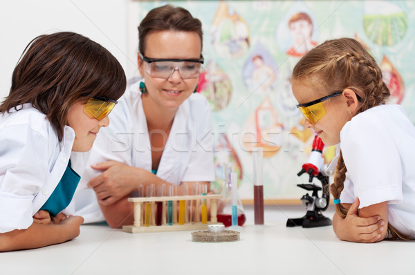 Young students watching an experiment in elementary science clas Stock photo © ilona75