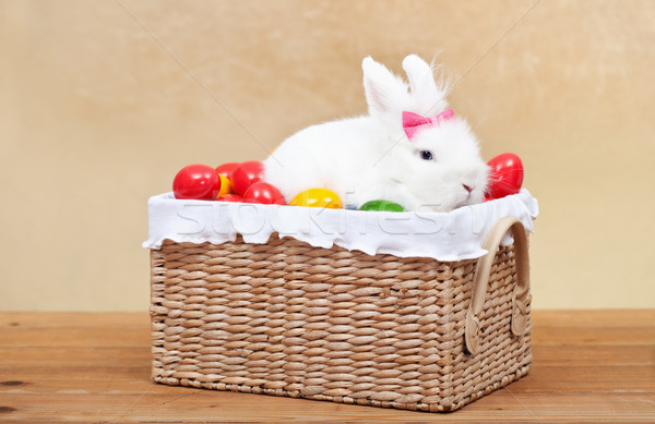 Stock photo: Cute easter bunny sitting in basket