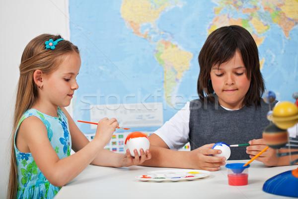 çocuklar boyama gezegenler güneş sistemi ölçek model Stok fotoğraf © ilona75