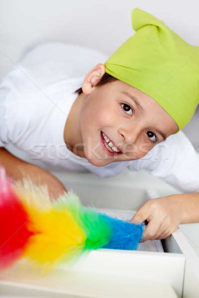 Dusting - boy cleaning his room Stock photo © ilona75