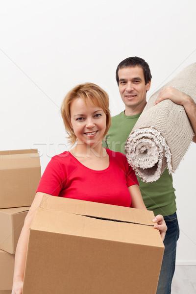 Photo stock: Couple · déplacement · nouvelle · maison · femme · maison