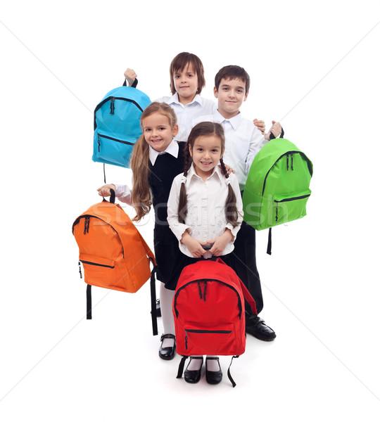 Stockfoto: Groep · gelukkig · kinderen · kleurrijk · school · zakken