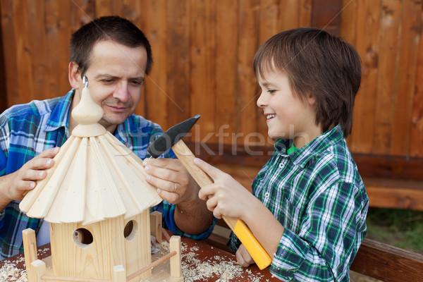 Apa fia épület madár együtt család ház Stock fotó © ilona75